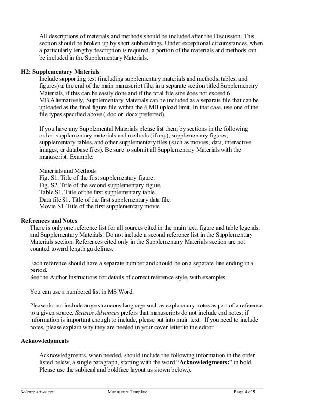 Sciences Manuscript Template - What should i include in a cover letter