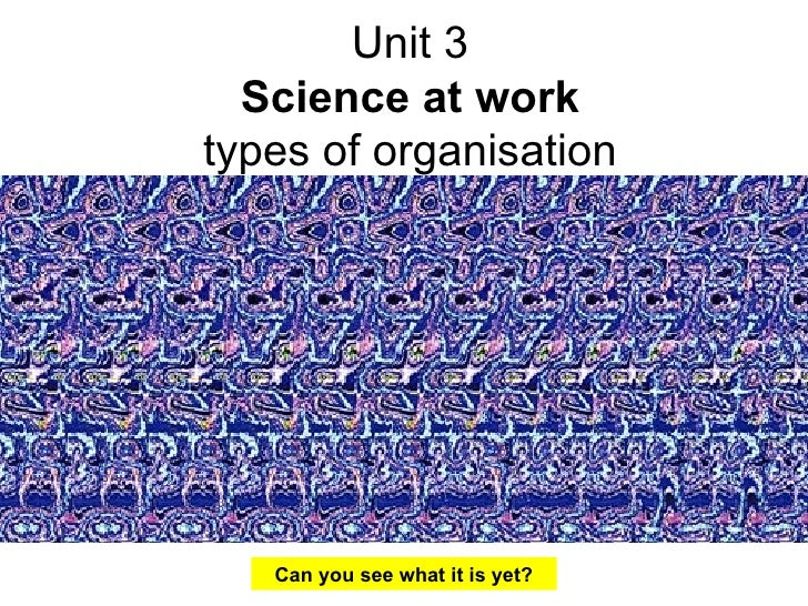 Unit 3 Science at work types of organisation Can you see what it is yet?