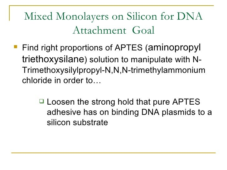 Mixed Monolayers on Silicon for DNA Attachment  Goal <ul><li>Find right proportions of APTES ( aminopropyl triethoxysilane...