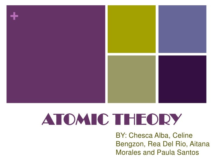 ATOMIC THEORY<br />BY: Chesca Alba, Celine Bengzon, Rea Del Rio, Aitana Morales and Paula Santos<br />