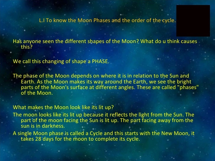 L.I To know the Moon Phases and the order of the cycle. <ul><li>Has anyone seen the different shapes of the Moon? What do ...