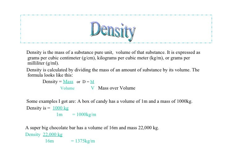 08 mass volume and density study