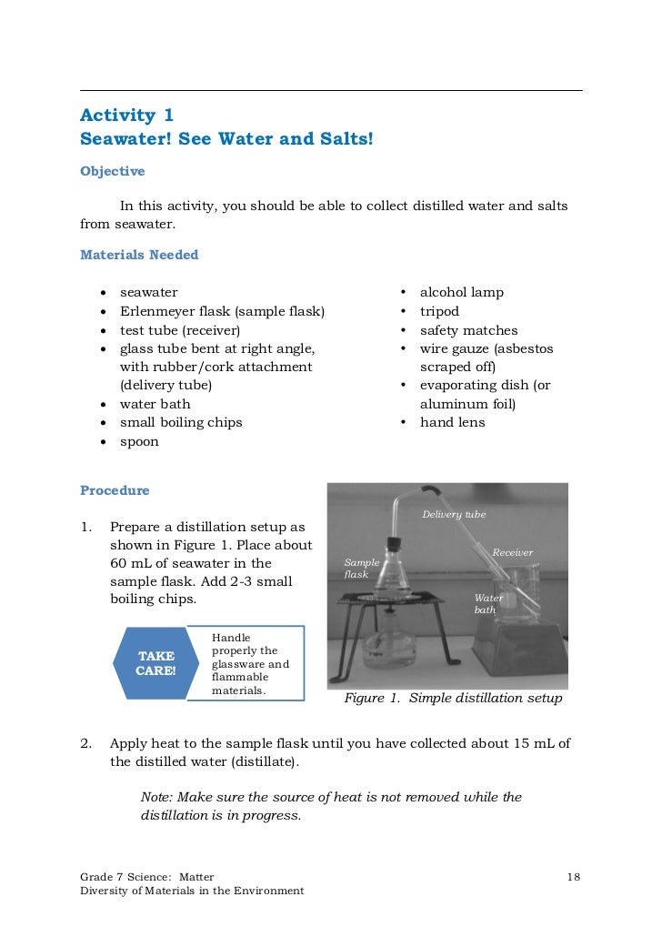 Activity 1Seawater! See Water and Salts!Objective      In this activity, you should be able to collect distilled water and...