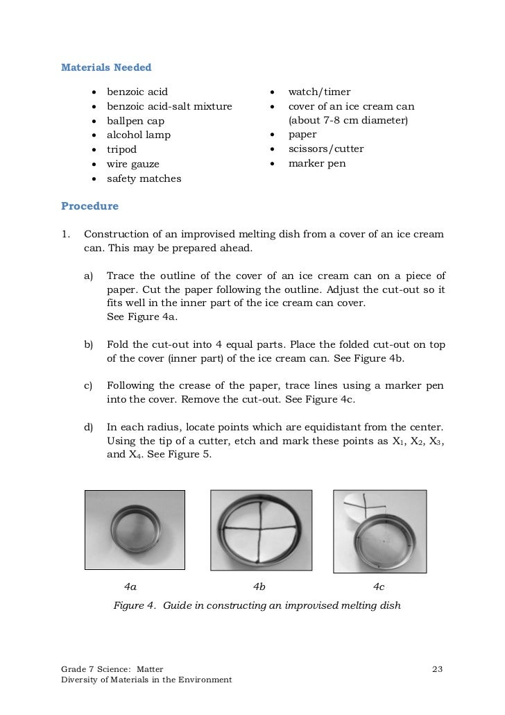 Materials Needed          benzoic acid                             watch/timer          benzoic acid-salt mixture      ...