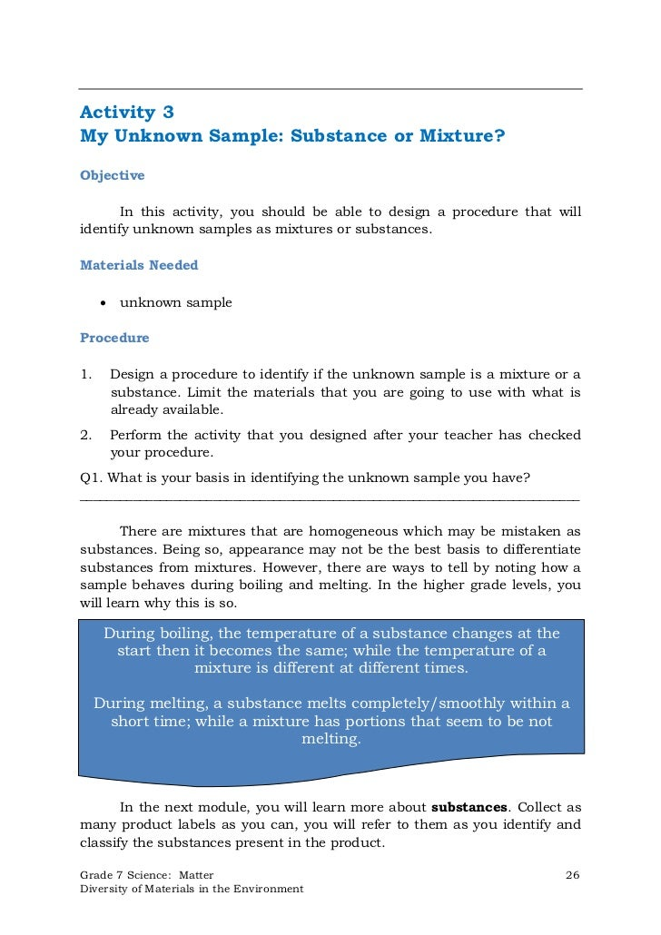 Activity 3My Unknown Sample: Substance or Mixture?Objective       In this activity, you should be able to design a procedu...