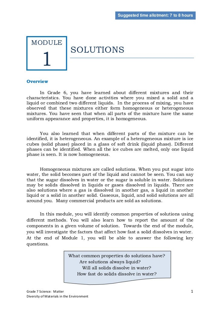 Suggested time allotment: 7 to 8 hours  MODULE                             SOLUTIONS         1Overview       In Grade 6, y...