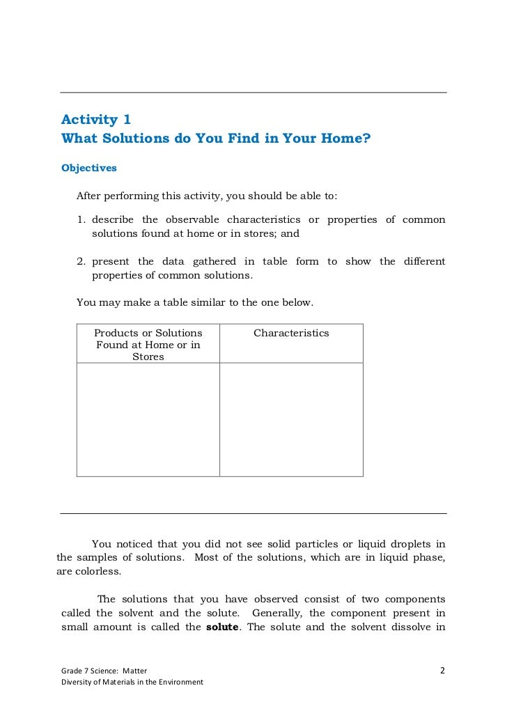 Activity 1 What Solutions do You Find in Your Home? Objectives     After performing this activity, you should be able to: ...