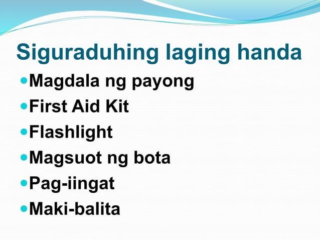Siguraduhing laging handa Magdala ng payong First Aid Kit Flashlight Magsuot ng bota Pag-iingat Maki-balita