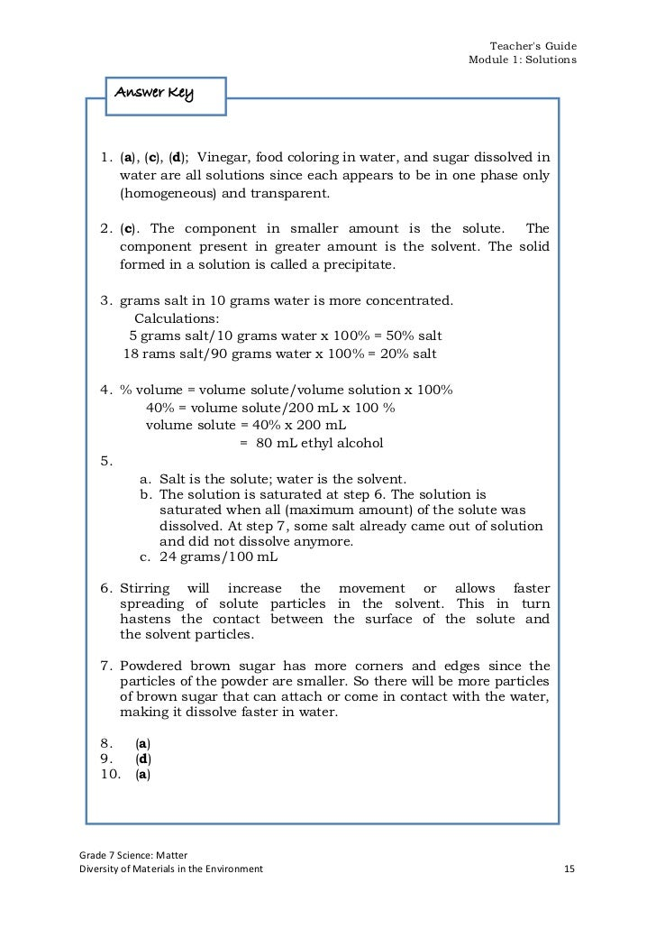 Science tg g7 ii iii and ivgrade 7 science matterdiversity of materials in the environment 14 21 teachers guide module 1 solutions answer key fandeluxe