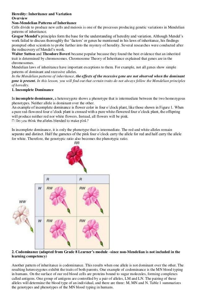 Science 2 Inheritance and Variation – Non Mendelian Genetics Worksheet