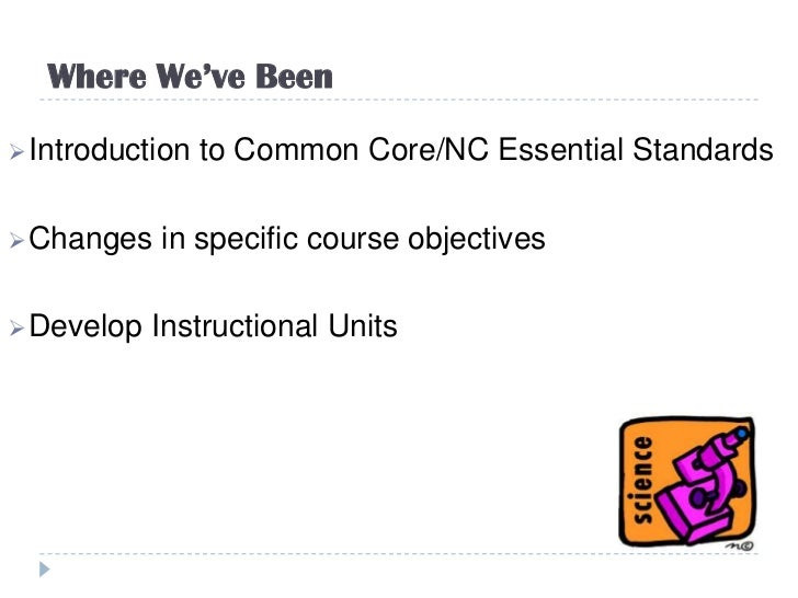 Where We've Been Introduction   to Common Core/NC Essential Standards Changes   in specific course objectives Develop  ...