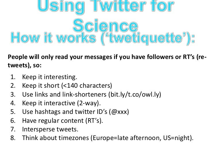 Using Twitter for Science<br />Who to follow:<br />BGI Collaborators<br />Science news/blogs<br />@NatureNews@dgmacarth...