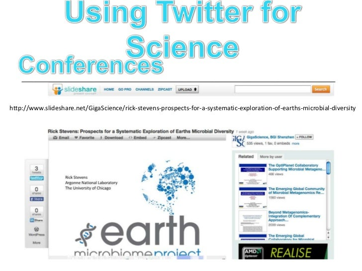 Using Twitter for Science<br />Conferences<br />http://www.youtube.com/watch?v=AlYFa83aCWA<br />