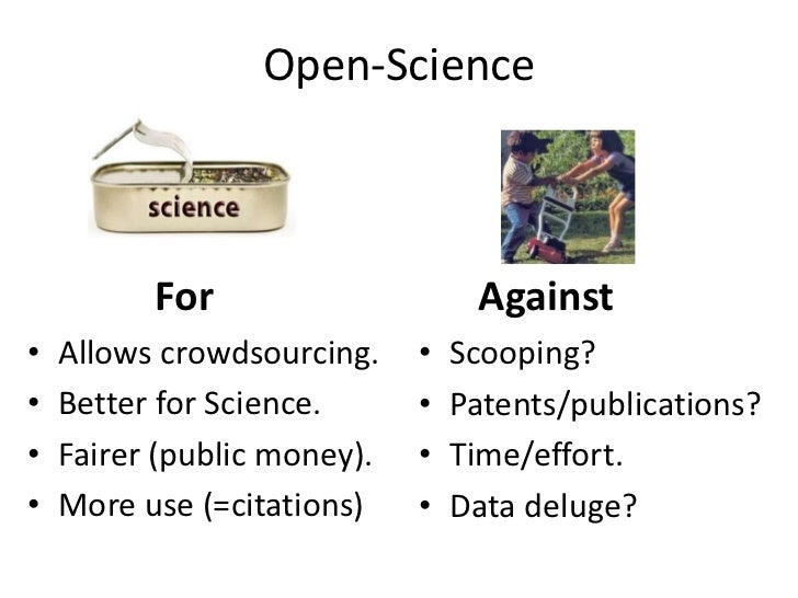 Open-Science<br />For<br />Against<br />Allows crowdsourcing.<br />Better for Science.<br />Fairer (public money).<br />Mo...