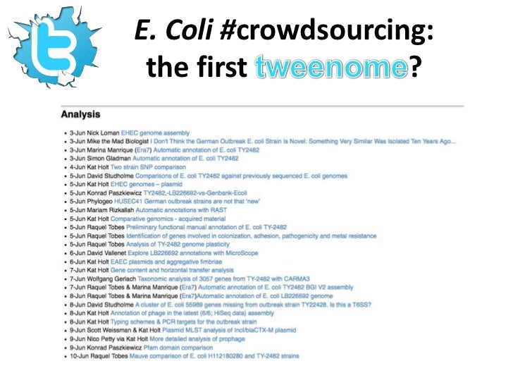 """E. Coli #crowdsourcing: the first tweenome?<br />""""The way that the genetic data of the 2011 E. coli strain were disseminat..."""