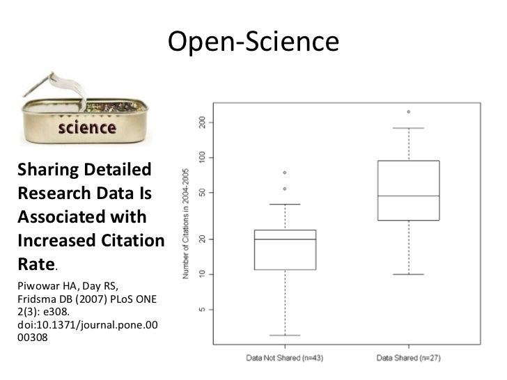 Open-Science<br />Sharing Detailed Research Data Is Associated with Increased Citation Rate. <br />Piwowar HA, Day RS, Fri...