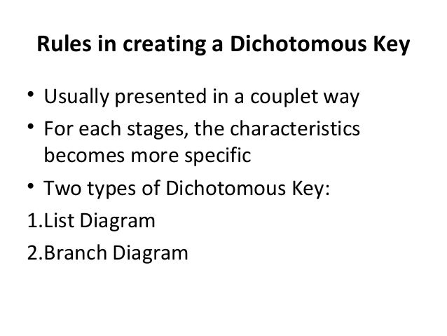 Dichotomous key classifications of organisms 4 rules in creating a dichotomous key ccuart Image collections