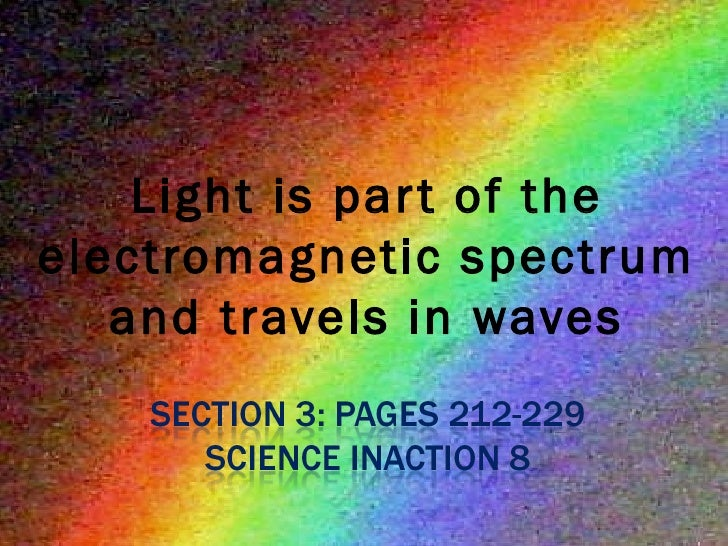 Light is part of the electromagnetic spectrum and travels in waves