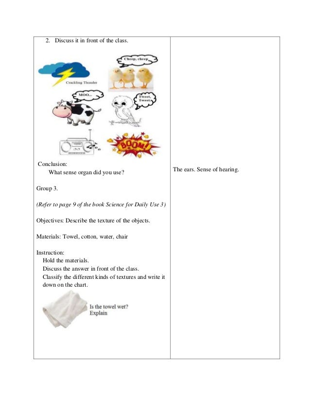 Free Worksheets senses worksheet kindergarten : Detailed Lesson Plan in Science and Health Grade 3 Sense Organ