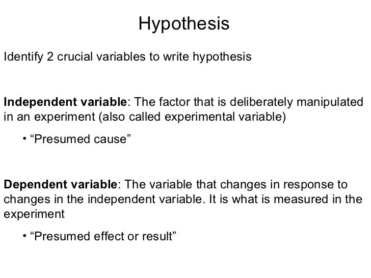 hypothesis and experimental approach A brief description of your experimental approach the idea is to let people know  what approach you used to tackle your problem or test your hypothesis -- not to.