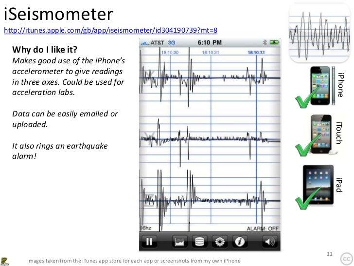 iSeismometerhttp://itunes.apple.com/gb/app/iseismometer/id304190739?mt=8  Why do I like it?  Makes good use of the iPhone'...