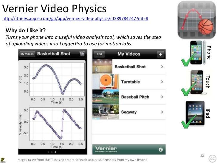 Vernier Video Physicshttp://itunes.apple.com/gb/app/vernier-video-physics/id389784247?mt=8 Why do I like it? Turns your ph...