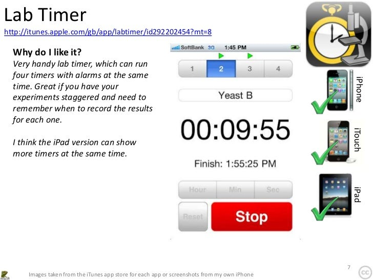Lab Timerhttp://itunes.apple.com/gb/app/labtimer/id292202454?mt=8  Why do I like it?  Very handy lab timer, which can run ...