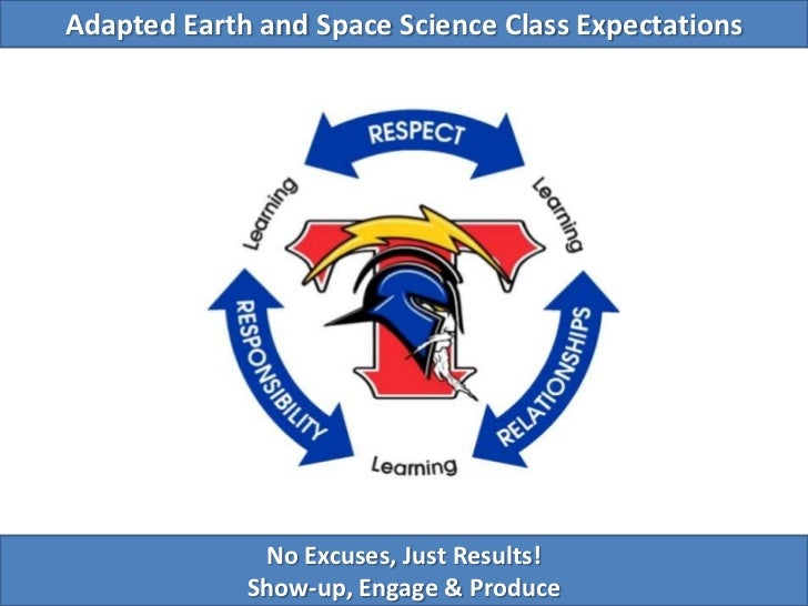 Adapted Earth and Space Science Class Expectations<br />No Excuses, Just Results!<br />Show-up, Engage & Produce<br />