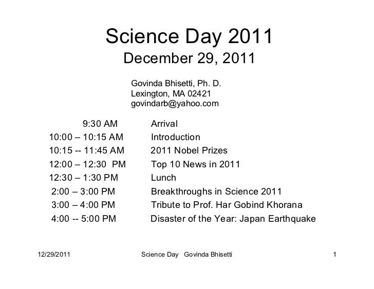 Science Day 2011                   December 29, 2011                       Govinda Bhisetti, Ph. D.                       ...