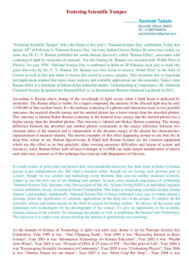 "Fostering Scientific Temper ……… Santosh Takale Scientific Officer, BARC Ph - 0-9967584554. santoshatbarc@gmail.com  ""Foste..."