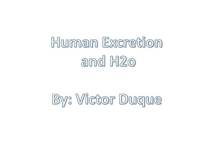 Human Excretion<br /> and H2o<br />By: Victor Duque<br />