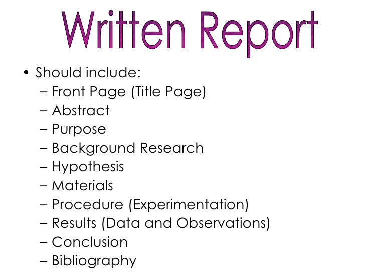 written report cover page
