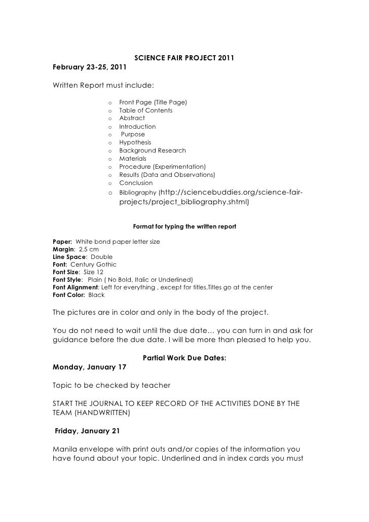 science fair project research paper introduction Science fair project introduction assignment: this paper and turn it in during the week of: science fair checklist on your science fair envelope.