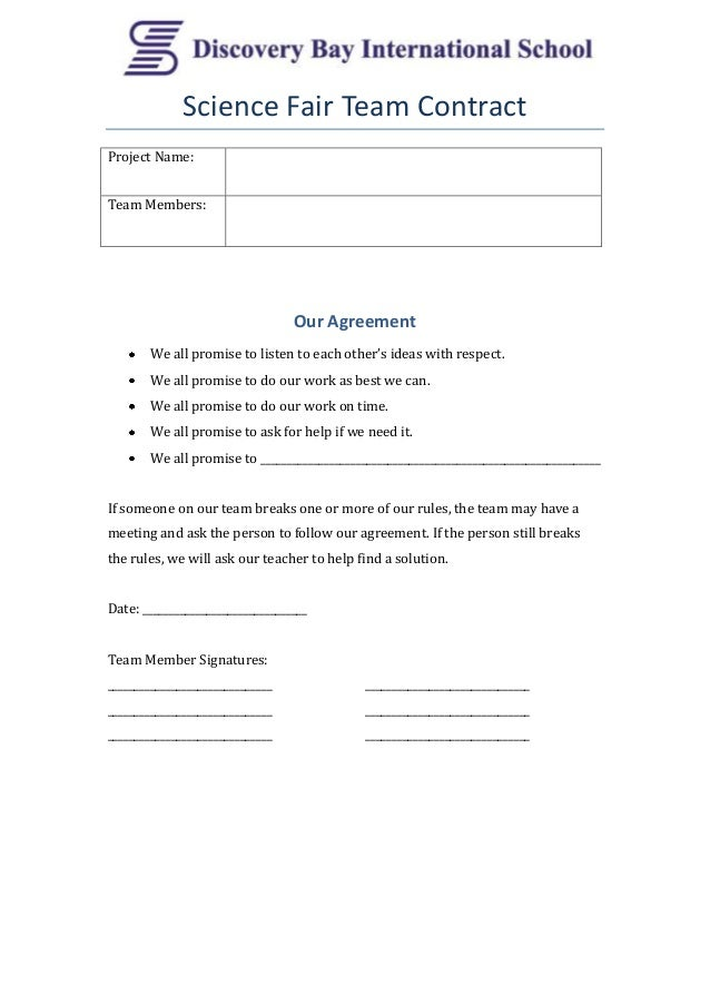Science Fair Team Contract