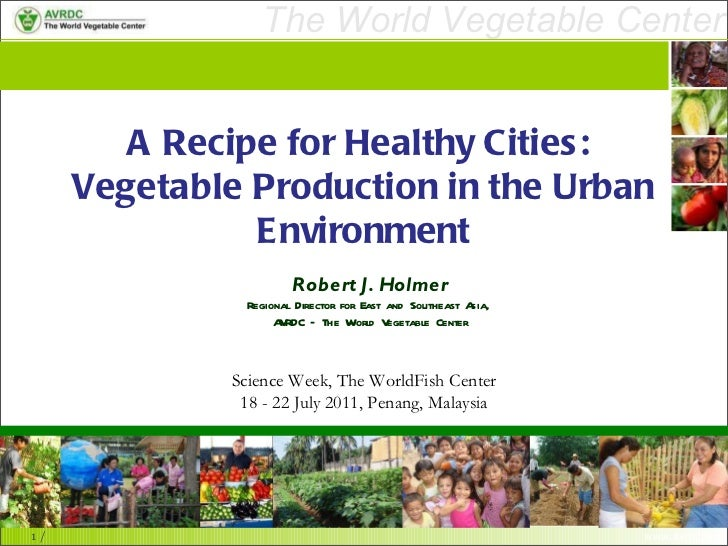 A Recipe for Healthy Cities:  Vegetable Production in the Urban Environment Robert J. Holmer Regional Director for East an...