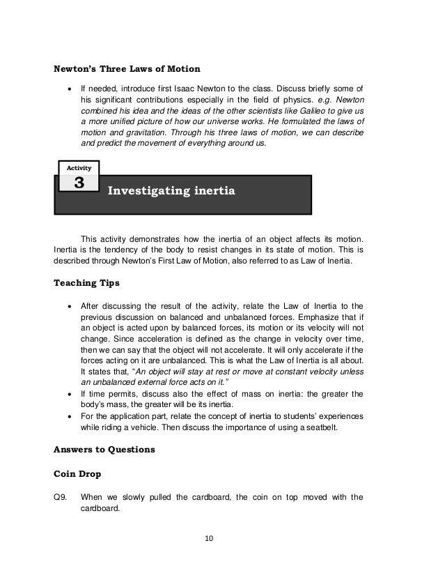 Science Grade 8 Teachers Manual – Inertia Worksheet