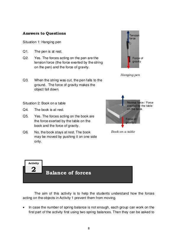 8Answers to QuestionsSituation 1: Hanging penQ1. The pen is at rest.Q2. Yes. The forces acting on the pen are thetension f...