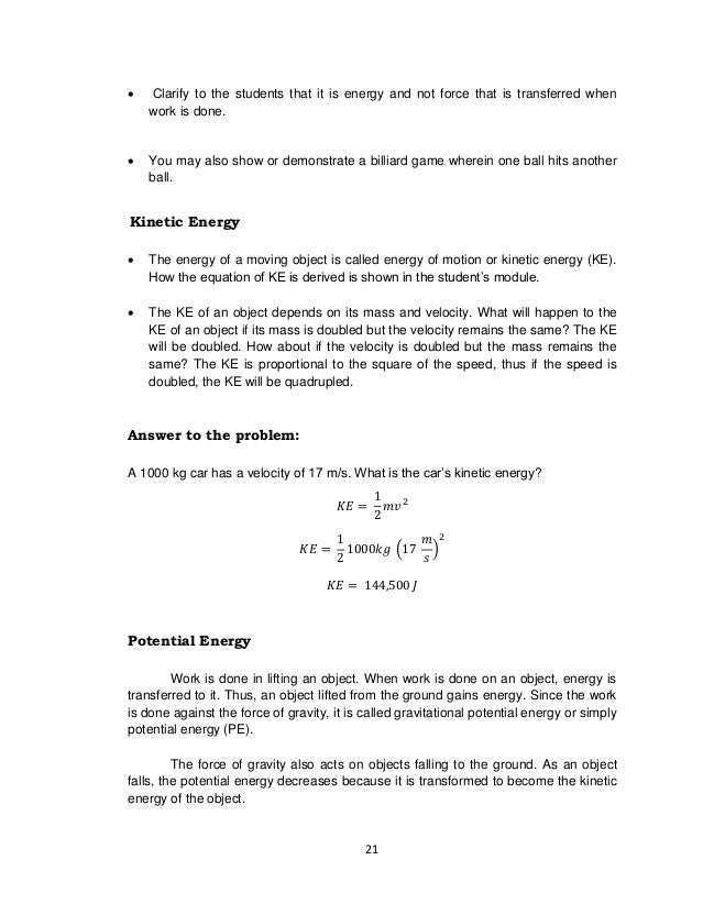 Science g8 tg final – Worksheet Kinetic and Potential Energy Problems