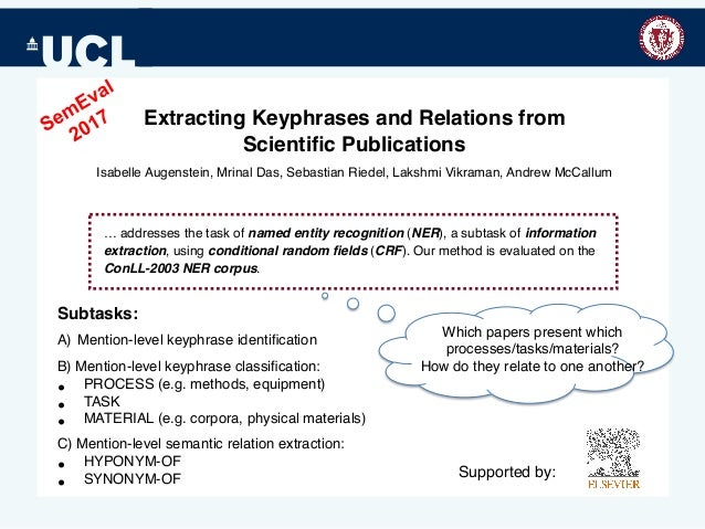 Extracting Keyphrases and Relations from Scientific Publications Isabelle Augenstein, Mrinal Das, Sebastian Riedel, Lakshmi...