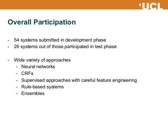 Overall Participation - 54 systems submitted in development phase - 26 systems out of those participated in test phase -...