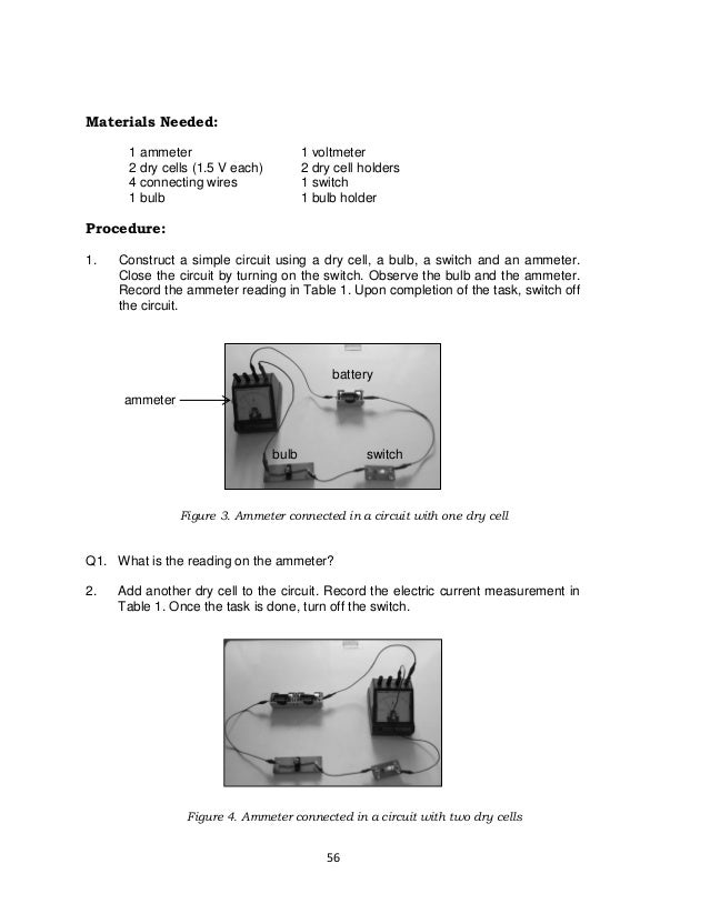 56 Materials Needed: 1 ammeter 1 voltmeter 2 dry cells (1.5 V each) 2 dry cell holders 4 connecting wires 1 switch 1 bulb ...