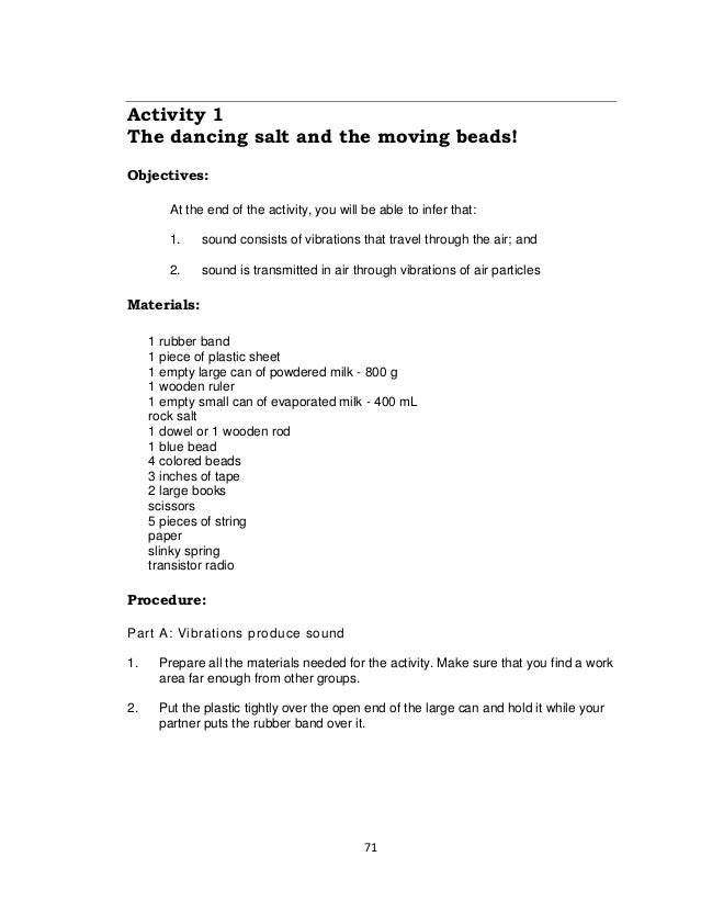 71 Activity 1 The dancing salt and the moving beads! Objectives: At the end of the activity, you will be able to infer tha...