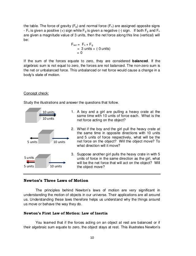 K to 12 Grade 8 Science Learner Module – Inertia Worksheet