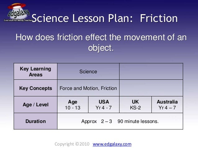 Science Lesson Plan Friction
