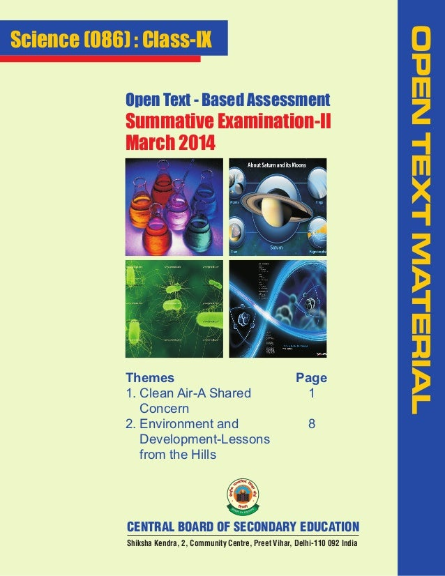 Open Text - Based Assessment  Summative Examination-II March 2014  Themes 1. Clean Air-A Shared Concern 2. Environment and...