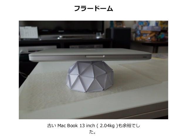 古い Mac Book 13 inch ( 2.04kg )も余裕でし た。 フラードーム