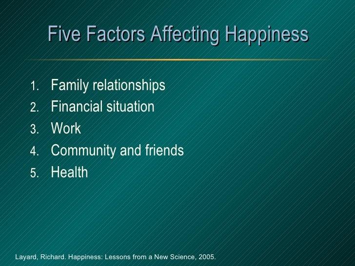 Five Factors Affecting Happiness <ul><li>Family relationships </li></ul><ul><li>Financial situation </li></ul><ul><li>Work...