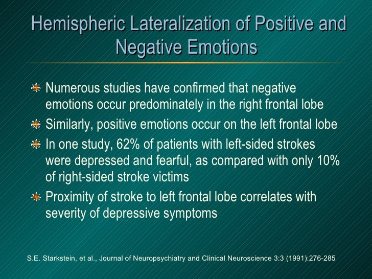 Hemispheric Lateralization of Positive and Negative Emotions <ul><li>Numerous studies have confirmed that negative emotion...