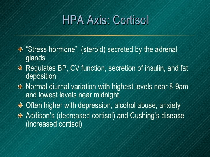 "HPA Axis: Cortisol <ul><li>"" Stress hormone""  (steroid) secreted by the adrenal glands </li></ul><ul><li>Regulates BP, CV ..."