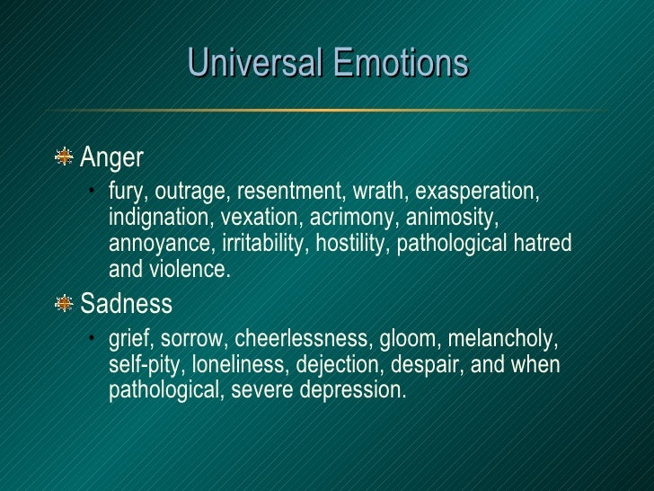 Universal Emotions <ul><li>Anger </li></ul><ul><ul><li>fury, outrage, resentment, wrath, exasperation, indignation, vexati...